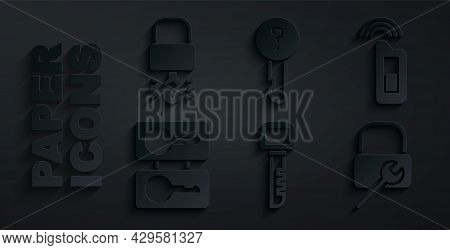 Set Key, Car Key With Remote, Casting Keys, Lock Repair, Undefined And Broke Inside Of Padlock Icon.