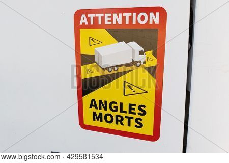 Bordeaux , Aquitaine France - 07 30 2021 : Angles Morts Sign Text Information French Text Stickers M