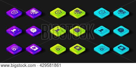 Set Cancelled Fingerprint, Browser Incognito Window, Face Recognition, Cyber Security, Server, Data,
