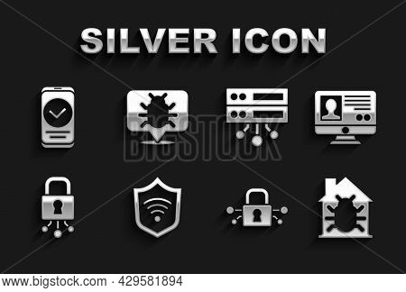 Set Shield With Wifi Wireless, Create Account Screen, House System Bug, Cyber Security, Server, Data