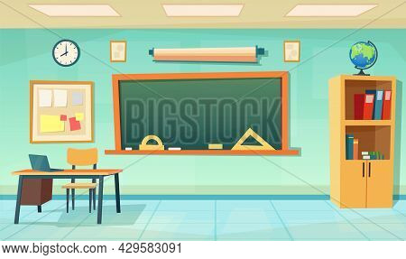 Nobody School Classroom Interior With Teachers Desk And Blackboard. Cartoon School Education Backgro