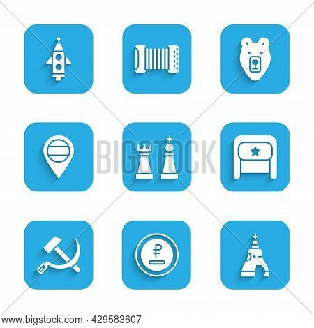 Set Chess, Rouble, Ruble Currency, The Tsar Bell, Ushanka, Hammer And Sickle Ussr, Location Russia,