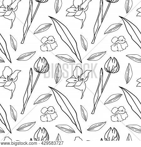 Seamless Vector Pattern With Garden And Wildflowers In Black Line On White Isolated Background.botan