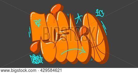 Orange Abstract Urban Graffiti Street Art Word Tesl Lettering Vector