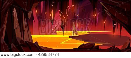 Cave With Lava, Underground Hell Landscape With Glowing Magma Lake And Stalactites Hang From Ceiling