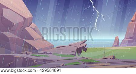 Storm On Ocean Rocky Shore, Rain Shower Falling, Lightning Sparkling In Dull Sky, Deserted Sea Coast