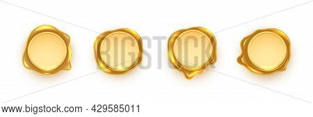 Gold Wax Seals Set Isolated On White Background. Vintage Postage Metal Stamps. Vector Golden Design