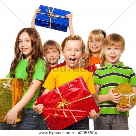 Happy Kids With Christmas Presents