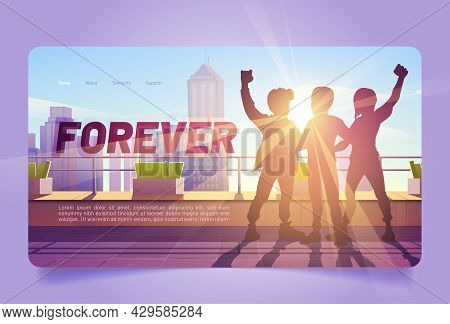 Forever Cartoon Landing Page. Best Friends Hug Silhouettes Stand On Skyscraper Roof With Raised Fist
