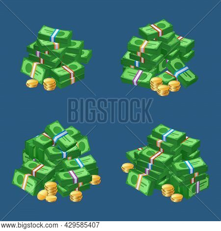 Piles Of Money Cash, Coins Stacks And Bundles Of Bills. Vector Cartoon Icons Set Of Bank Currency Wi