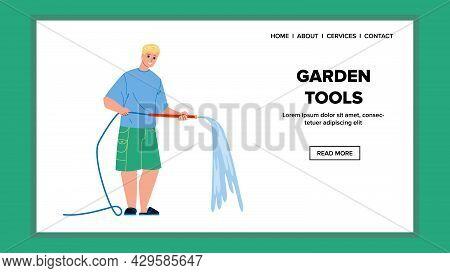 Garden Tools Using Man Farmer On Farmland Vector. Farm Land Worker Young Boy Watering Growing Vegeta