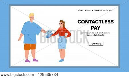 Contactless Pay Digital Phone Technology Vector. Young Man Make Contactless Pay With Smartphone In S
