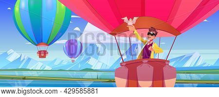 Hot Air Balloon With Man And Dove Fly Above Mountain Valley With Lake And Green Meadows. Vector Cart