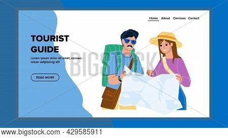 Tourist Guide Researching Travelers Couple Vector. Travelers Looking At Tourist Guide Map For Search