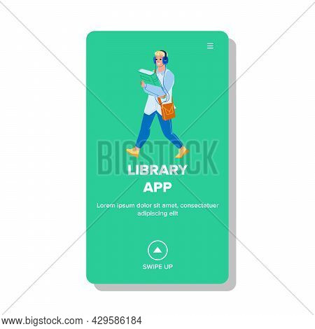 Library App Using Man For Listen Audiobook Vector. Young Boy Walking With Book And Listen Audio Lite