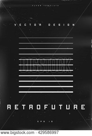 Retrofuturistic Poster Design. Cyberpunk 80s Style Poster With Retrofuturistic Striped Square. Shabb