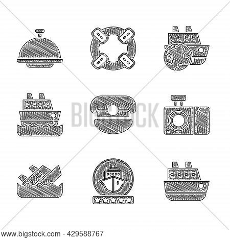Set Captain Hat, Cruise Ship, Photo Camera, Sinking Cruise, And Covered With Tray Icon. Vector