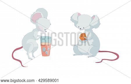 Cute Funny Mouse Characters Set. Lovely Little Mice Activities Cartoon Vector Illustration