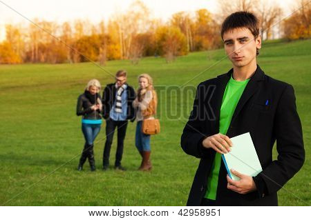 Confident Student With Friends
