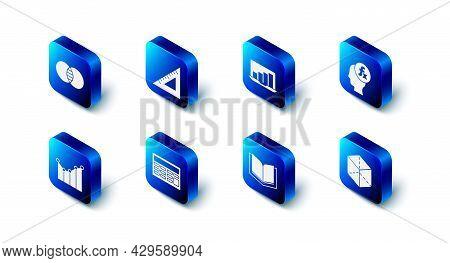 Set Triangular Ruler, Laptop With Graph Chart, Function Mathematical Symbol, Geometric Figure Cube,