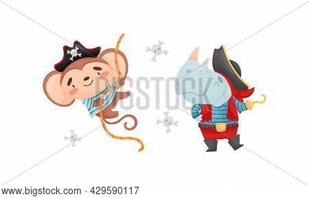 Cute Little Animals Pirates Set. Funny Monkey, Rhino Sailor Characters Cartoon Vector Illustration
