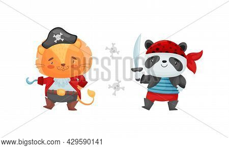 Cute Little Animals Pirates Set. Funny Lion, Panda Bear Sailor Characters Cartoon Vector Illustratio