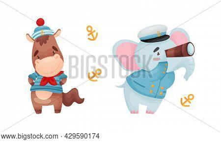 Cute Baby Animals Sailors Set. Funny Horse, Elephant Captain Characters Cartoon Vector Illustration