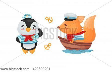 Cute Baby Animals Sailors Set. Funny Penguin, Squirrel Captain Characters Cartoon Vector Illustratio