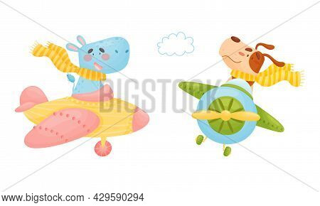 Cute Baby Animals Pilots Set. Funny Hippo, Dog Pilot Characters Flying By Airplane Cartoon Vector Il