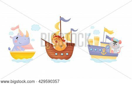 Cute Baby Animals Captains Set. Funny Rhinoceros, Cat, Mouse Sailors Characters Sailing On Sailboats
