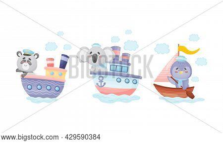 Cute Baby Animals Captains Set. Funny Panda Bear, Koala, Penguin Sailors Characters Sailing On Sailb
