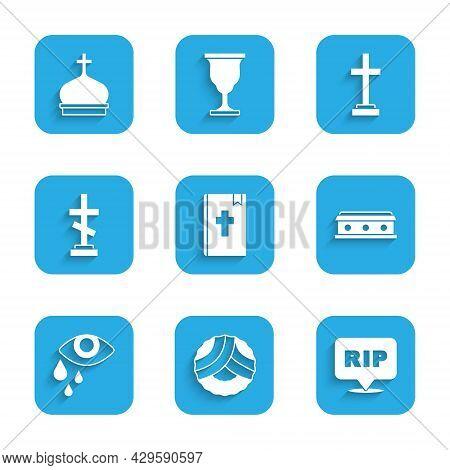 Set Holy Bible Book, Memorial Wreath, Speech Bubble Rip Death, Coffin With Cross, Tear Cry Eye, Grav