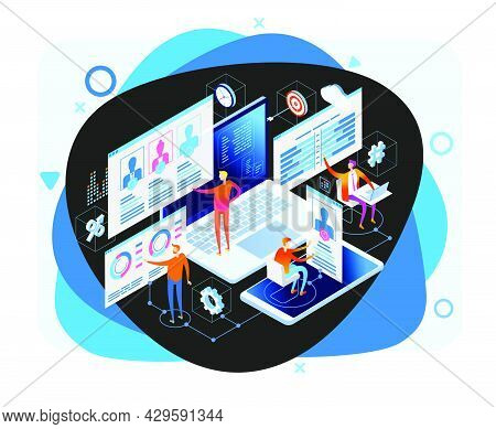 Content Marketing Strategy Web Banner. Marketing And Sharing Of Digital Content. Technology Process