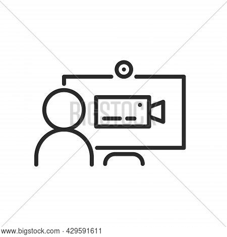 Computer With Human And Camera Icon On Screen, Online Meeting Line Icon Isolated. Video Conference C