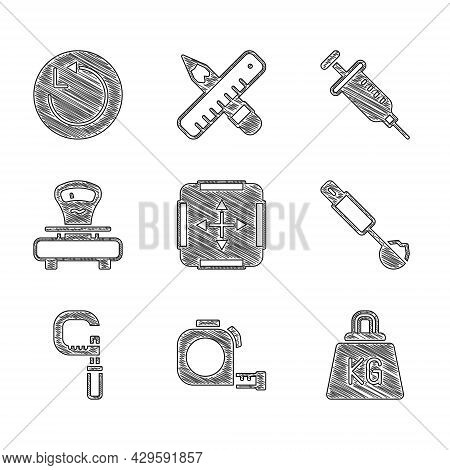Set Area Measurement, Roulette Construction, Weight, Measuring Spoon, Micrometer, Scales, Syringe An