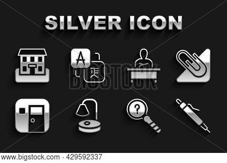 Set Table Lamp, Paper Clip, Pen, Unknown Search, School Classroom, Schoolboy Sitting At Desk, Buildi
