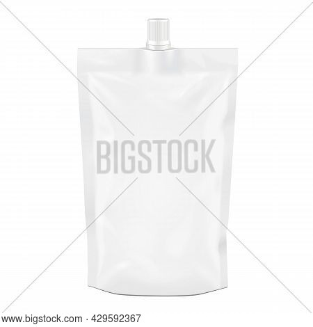 White Blank Doy-pack, Doypack Foil Food Or Drink Bag Packaging With Spout Lid. Illustration Isolated