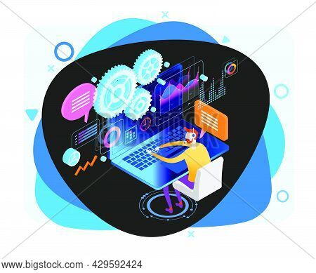 Technical Support Illustration Concept. Modern Business Technology. Technical Support Engineer With