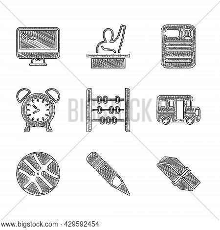 Set Abacus, Pencil With Eraser, Eraser Or Rubber, School Bus, Basketball Ball, Alarm Clock, Dossier