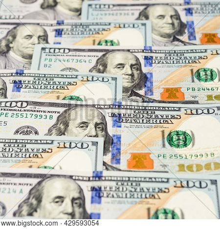 Dollar Texture Of 100, Benjamin Franklin And American Cash.