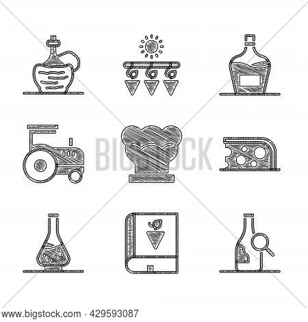 Set Chef Hat, Book About Grapes, Bottle Of Wine, Cheese, Decanter For, Tractor, Old Bottle And Wine