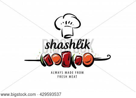 Vector Logo With A Drawn Barbecue On A Skewer