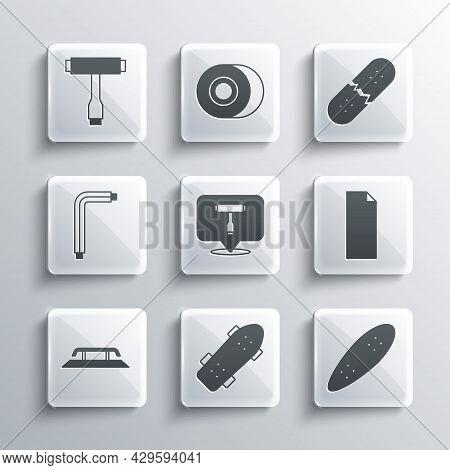 Set Skateboard, Longboard Or Skateboard, Grip Tape, T Tool, Stairs With Rail, Tool Allen Keys, And B