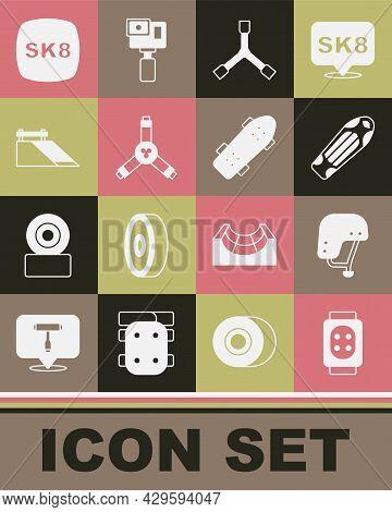Set Knee Pads, Skateboard Helmet, Deck, Y-tool, Park, And Icon. Vector