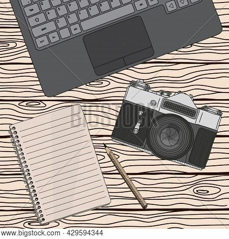 Vector Sketch Of A Film Retro Camera With A Lens On The Background Of Wooden Boards. Vector Illustra