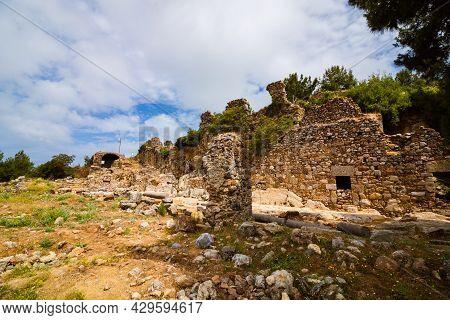 Syedra Ancient City Ruins In Alanya Antalya Turkey. Syedra Ruins. Roman Port City Ruins In Turkey. T