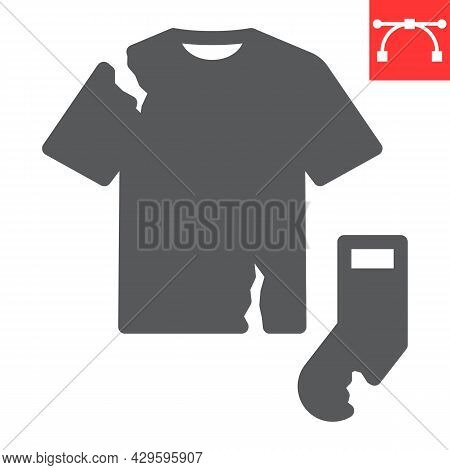 Textile Waste Glyph Icon, Recycle And Torn T-shirt, Torn Sock Vector Icon, Vector Graphics, Editable