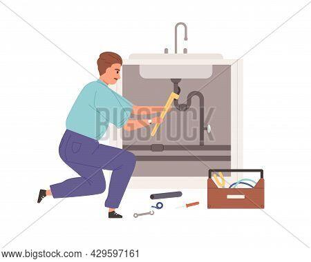 Plumber Repairing Plumbing, Fixing Pipe Leak Under Sink. Worker Installing Tube. Home Master Working