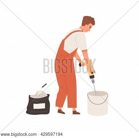 Professional Plasterer Working With Wall Putty, Mixing Plaster In Bucket With Electric Paddle Tool.