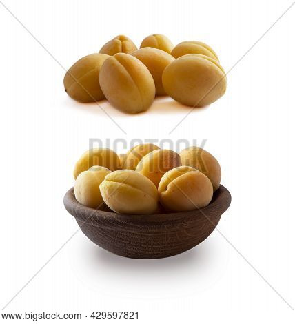 Heap Of Apricots Isolated On White Background. Ripe Apricots With Copy Space For Text. Apricots In A